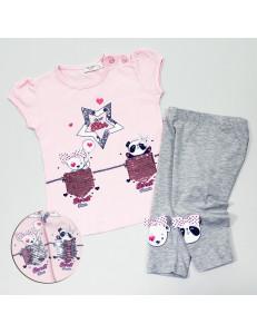 """Комплект для девочек розово-серый с пайетками-перевертышами """"Милая звезда"""""""